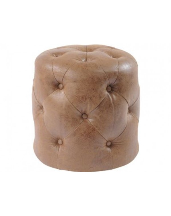 Homestead Antique Tan Grain Leather button Stool